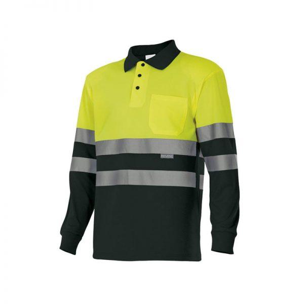 polo-velilla-alta-visibilidad-175-negro-amarillo