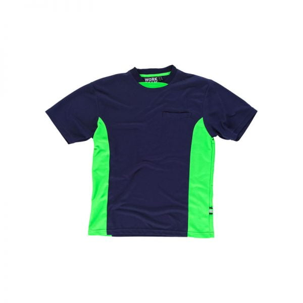camiseta-workteam-wf1616-azul-marino-verde-fluor