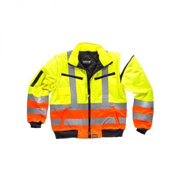 cazadora-workteam-alta-visibilidad-desmontable-c3736-amarillo-naranja